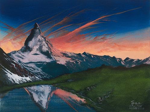 Sunset at Matterhorn Acrylic Painting
