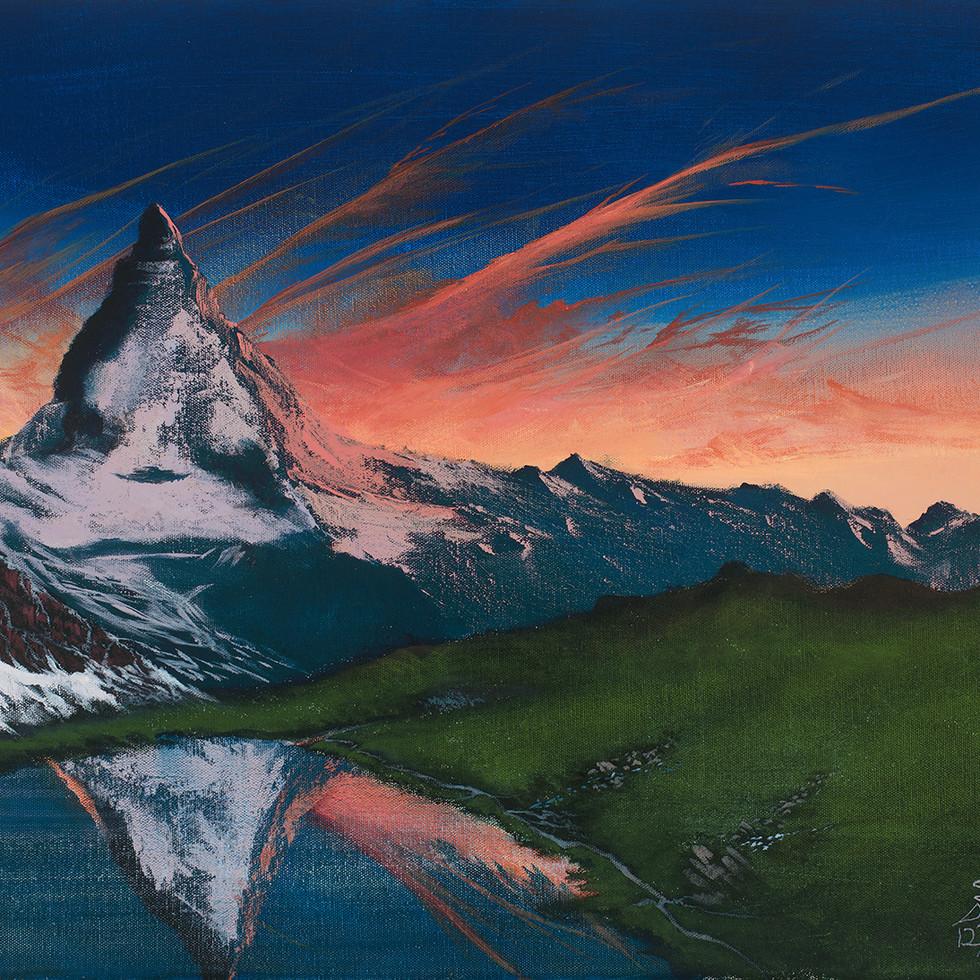 """Sunset at Matterhorn 18x24"""" Acrylic on Canvas"""
