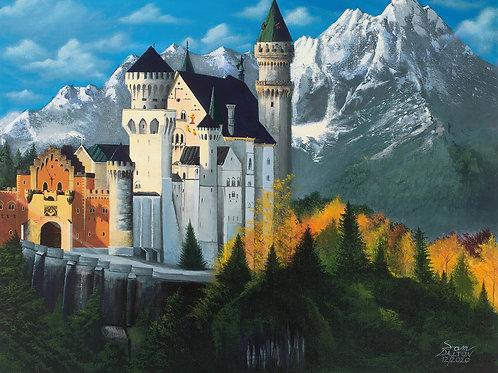 Neuschwanstein Castle Acrylic Painting