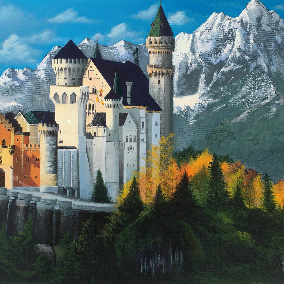 "Nueschwanstein Castle 24x30"" Acrylic on Canvs"