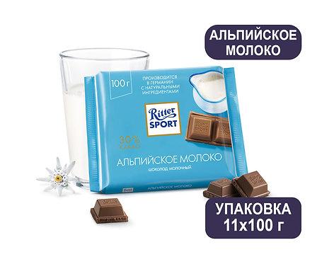 Упаковка Ritter Sport. Шоколад. 100 г. Альпийское молоко