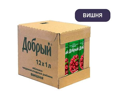 Коробка Добрый. Вишня. Сок. Тетра пак. 1 литр