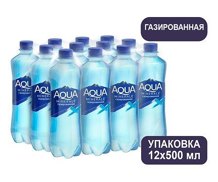 Упаковка Aqua Minerale. Газированная. Питьевая вода. ПЭТ. 500 мл