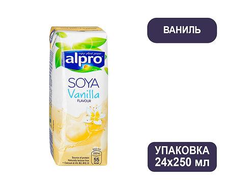 Коробка ALPRO. Напиток соевый со вкусом ванили. Тетра пак. 250 мл
