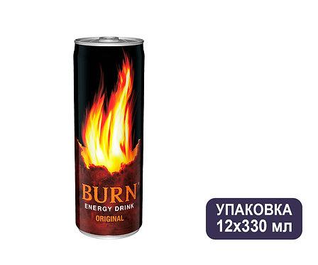 Упаковка Burn. Ж/б. 330 мл. Энергетический напиток