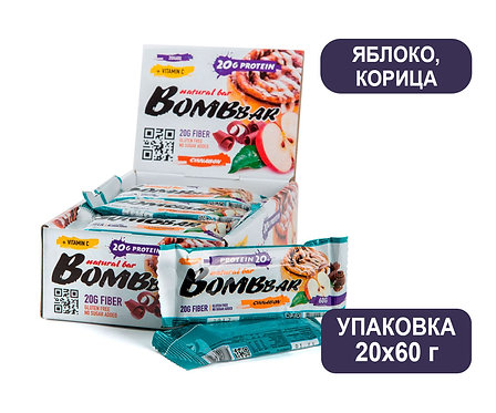 Упаковка Bombbar. Яблоко/Корица. 60 г. Протеиновый батончик