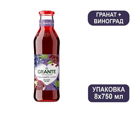 Упаковка Сок Grante Гранат + Виноград. Стекло. 750 мл