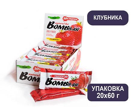 Упаковка Bombbar. Клубника. 60 г. Протеиновый батончик