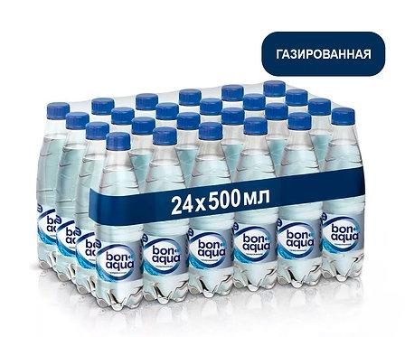 Упаковка Bonaqua. Газированная. Питьевая вода. ПЭТ. 500 мл