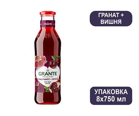 Упаковка Сок Grante Гранат + Вишня. Стекло. 750 мл