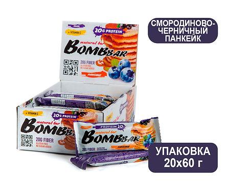 Упаковка Bombbar. Смородиново-черничный панкейк. 60 г. Протеиновый батончик