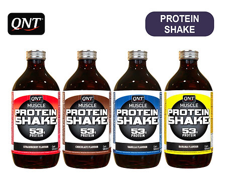 Упаковка QNT Protein SHAKE. Стекло. 500 мл. (Банан, Клубника, Шоколад, Ваниль)