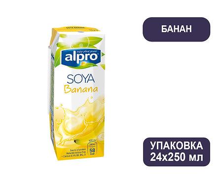 Коробка ALPRO. Напиток соево-банановый. Тетра пак. 250 мл