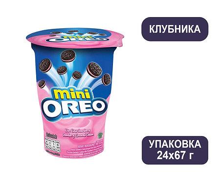 Упаковка Oreo мини. Печенье с клубничным кремом. Стакан. 67 г.