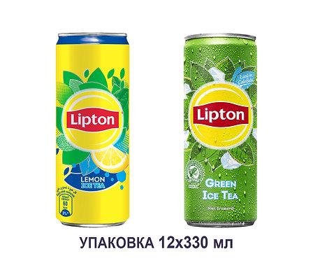 Упаковка Lipton. Холодный чай. ЖБ. 330 мл. (черный с лимоном, зеленый)