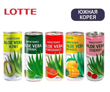 Упаковка Aloe Vera Lotte. Безалкогольный. Ж/б. 240 мл. (Киви,Манго,Вишня,Гранат)