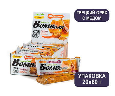 Упаковка Bombbar. Грецкий орех с мёдом. 60 г. Протеиновый батончик