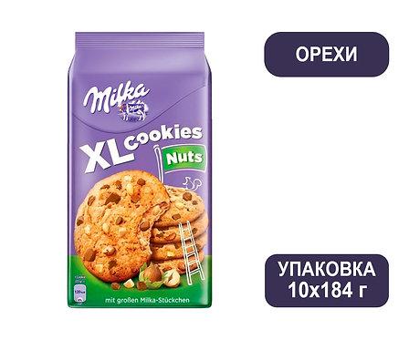 Коробка Milka XL Cookies. Печенье с орехами. 184 г.
