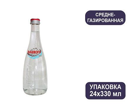Упаковка DAUROFF. Среднегазированная. Природная питьевая столовая. Стекло.330 мл