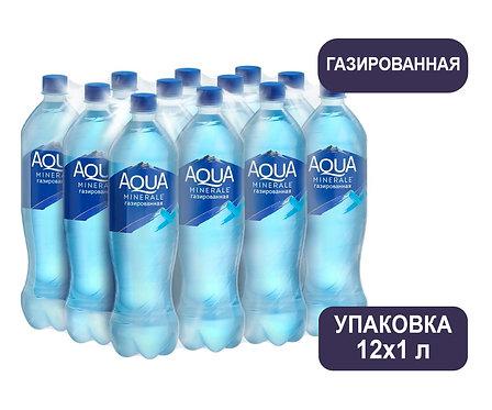 Упаковка Aqua Minerale. Газированная. Питьевая вода. ПЭТ. 1 л