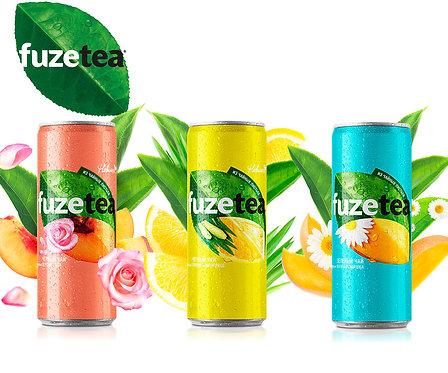 Упаковка Fuze Tea. Чай. Ж/б. 330 мл.(Манго-Ромашка,Лимон-Лемонграсс,Персик-Роза)