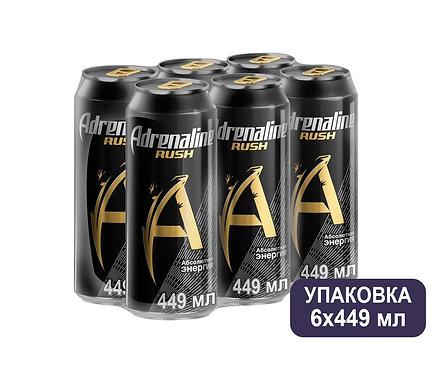 Упаковка Adrenaline. Ж/б. 449 мл. Энергетический напиток