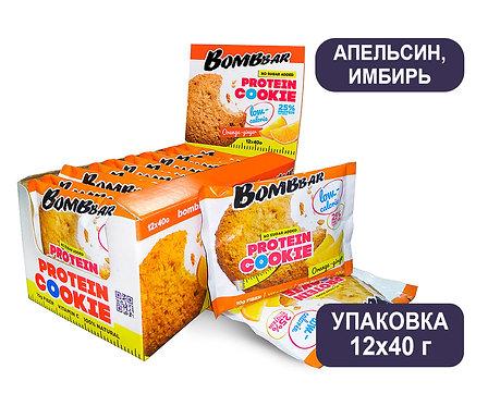 Упаковка Bombbar. Апельсин/Имбирь. 40 г. Протеиновое печенье