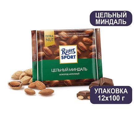 Упаковка Ritter Sport. 100 г. Цельный миндаль. Молочный шоколад