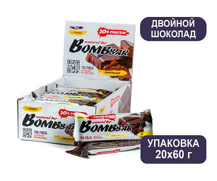 Упаковка Bombbar. Двойной шоколад. 60 г. Протеиновый батончик