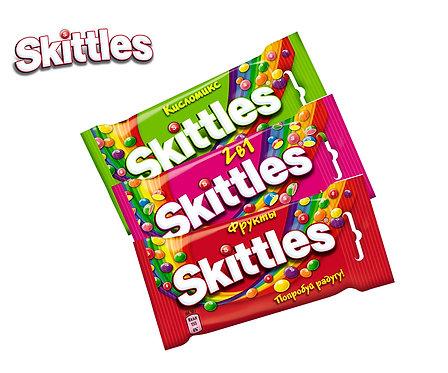 Коробка Skittles. 38 г. (Фрукты, 2в1, кисломикс)