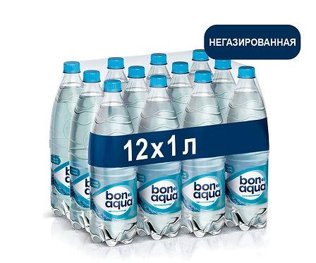 Упаковка Bonaqua. Негазированная. Питьевая вода. ПЭТ. 1 л