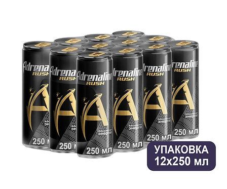 Упаковка Adrenaline. Ж/б. 250 мл. Энергетический напиток