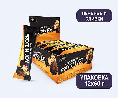 Упаковка Батончиков QNT Protein Joy. Печенье и сливки. 60 г