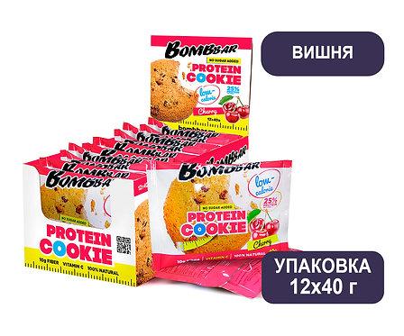 Упаковка Bombbar. Вишня. 40 г. Протеиновое печенье