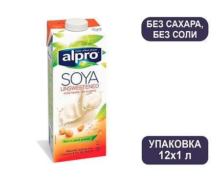Коробка ALPRO Без сахара, без соли. Соевый напиток. Тетра пак. 1 литр
