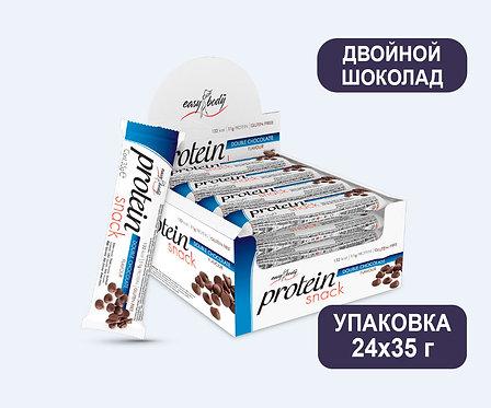 Упаковка Батончика Easy Body Protein Bar. Двойной Шоколад. 35 г