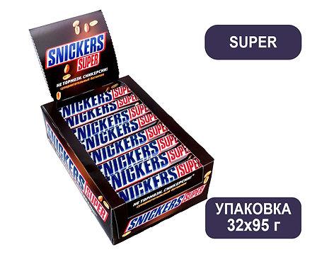 Упаковка Snickers Super. Шоколадный батончик. 95 г.