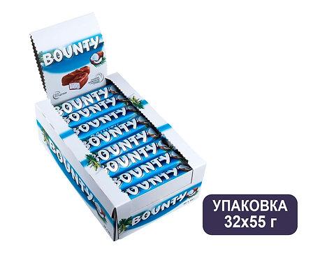 Упаковка Bounty. Шоколадный батончик. 55 г