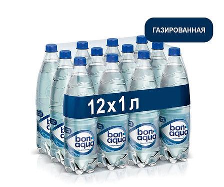 Упаковка Bonaqua. Газированная. Питьевая вода. ПЭТ. 1 л