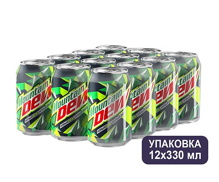 Упаковка Mountain Dew. Ж/б. 330 мл.