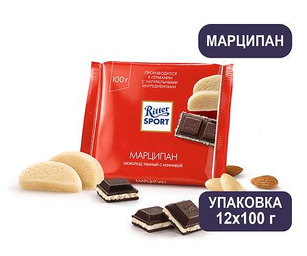 Упаковка Ritter Sport. Шоколад. 100 г. Марципан в тёмном шоколаде