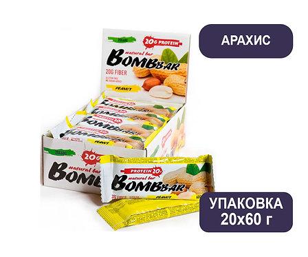 Упаковка Bombbar. Арахис. 60 г. Протеиновый батончик