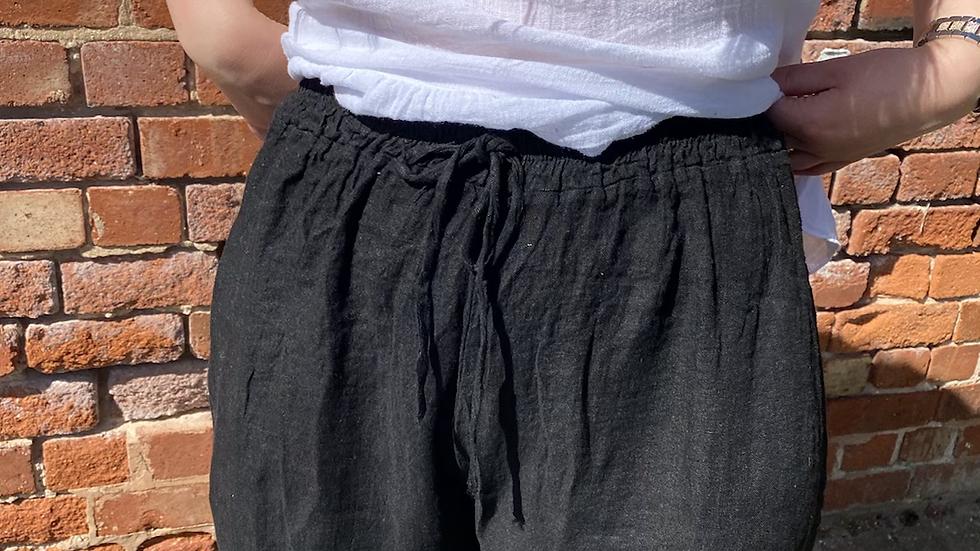Black Linen Harem Style Pants