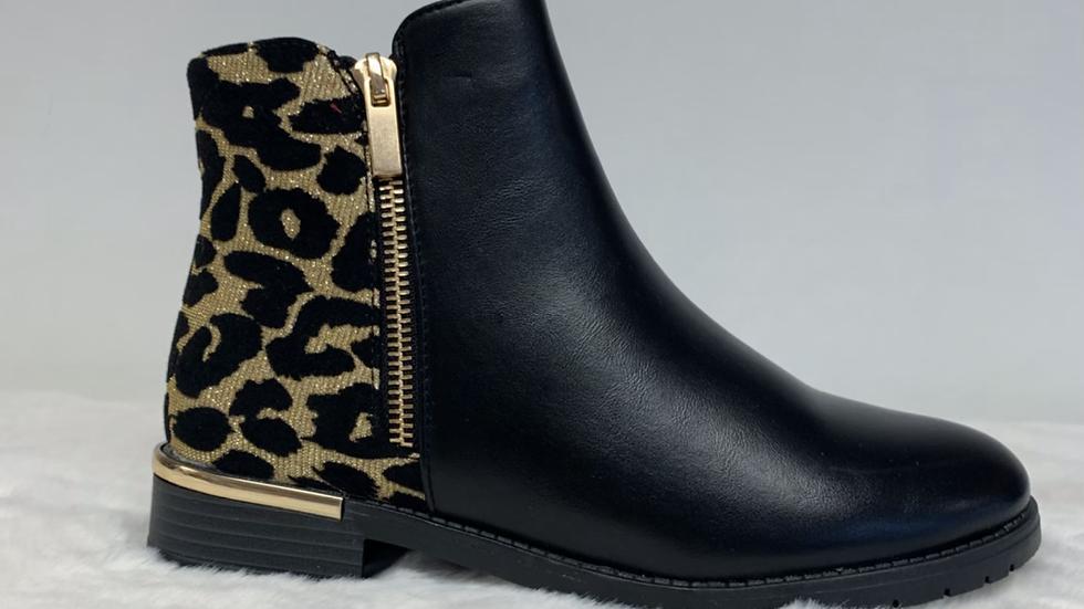 Glitter Leopard Print Ankle Boot