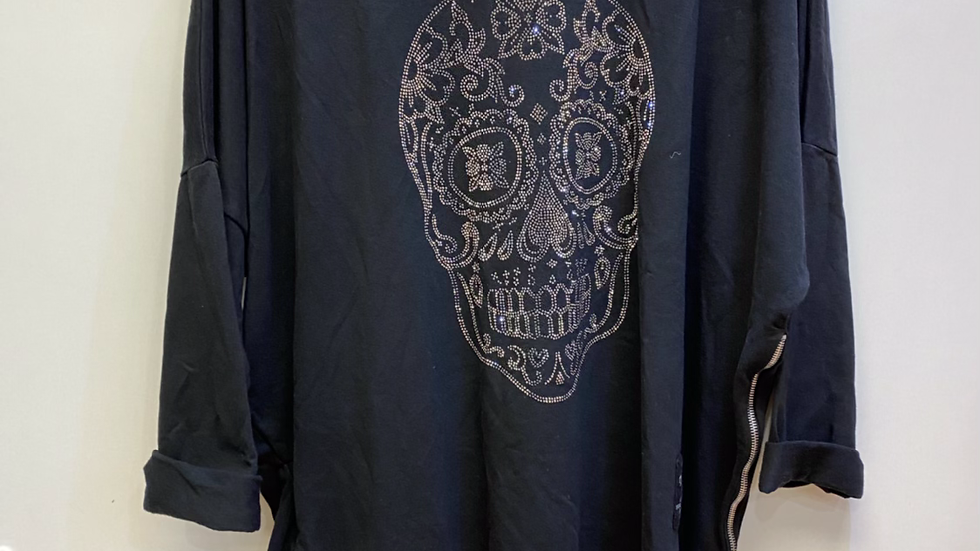 Diamante Skull Tunic in Black