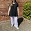 Thumbnail: Black Short Sleeved Linen Top