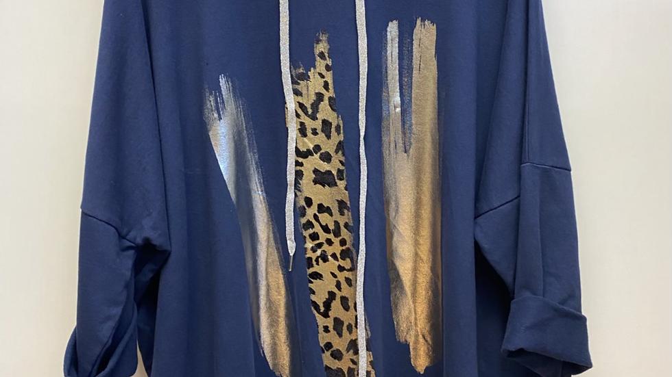 Metallic & Leopard Stripe Hoodie