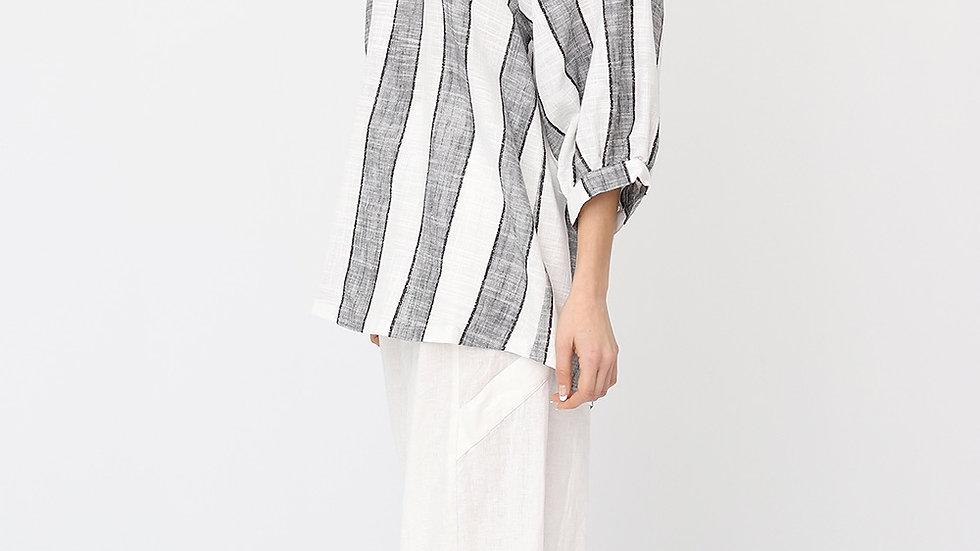 Bella Blue Striped Linen Top