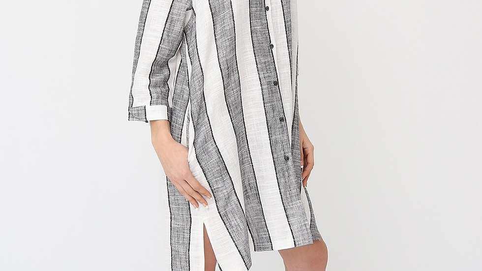 Bella Blue Linen Striped Shirt Dress