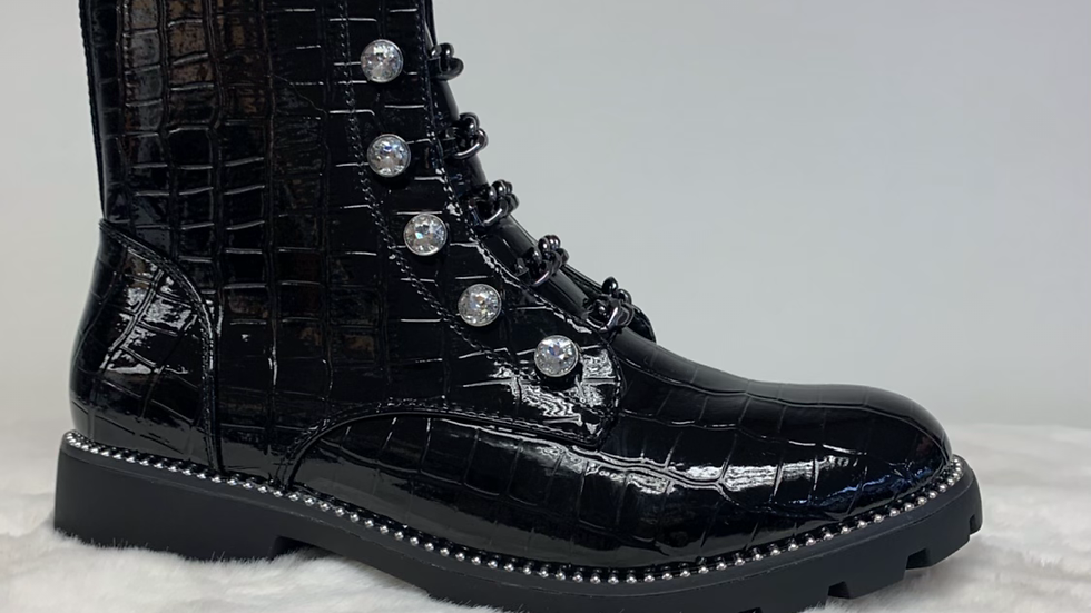 Military Patent Boot